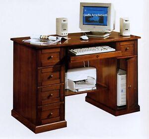 Scrivania Pc Noce.Dettagli Su Scrivania Scrittoio Porta Pc In Pioppo Finitura Noce X Cameretta Studio 5955