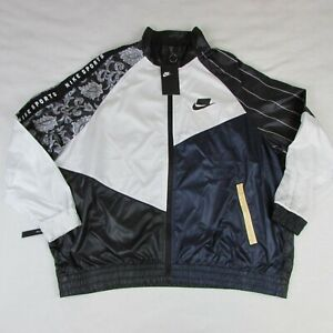 New-Women-039-s-Nike-NSW-Track-Jacket-Full-Zip-Black-White-Blue-AR3025-010-Size-XL