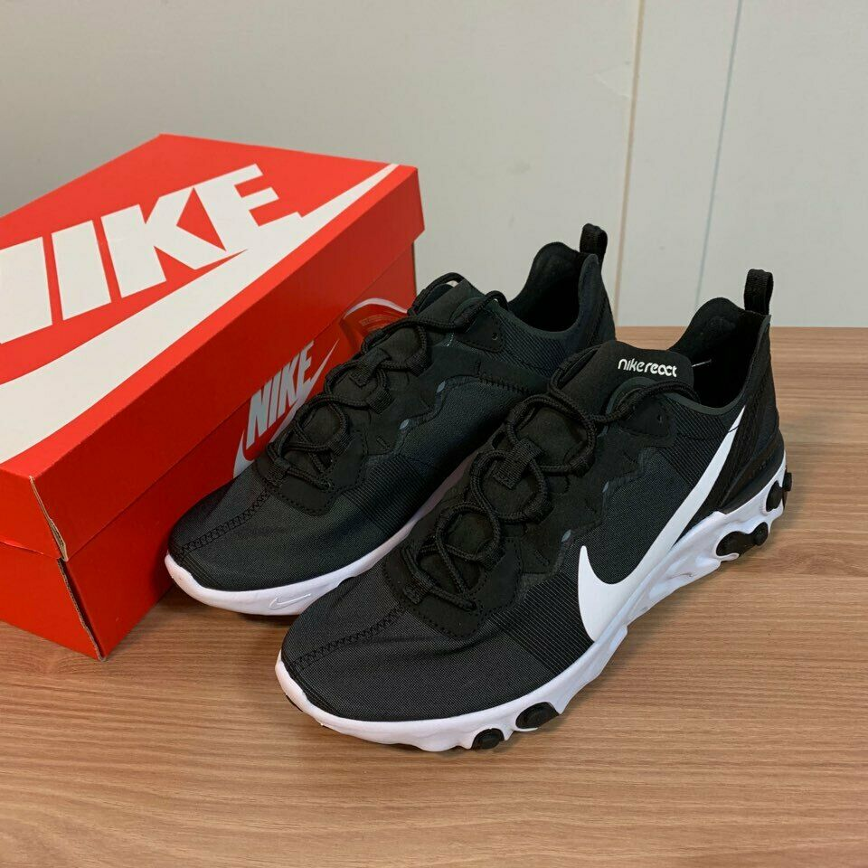 NIKE React Element 55 BQ6166-003 Black  White New Authentic Mens shoes Sneakers