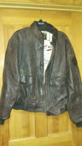 mens brown German leather Bomber jacket