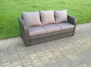 Outdoor Patio Couch Set, High Back 3 Seater Rattan Sofa Patio Outdoor Garden Furniture With Cushion Ebay