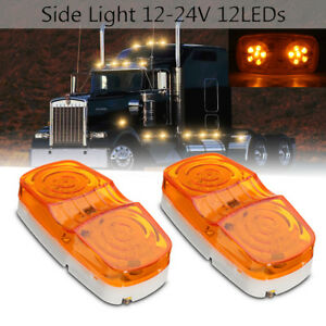 2x-12V-Amber-12-LED-Side-Marker-Light-Indicator-Lamp-Truck-Trailer-Caravan-Lorry