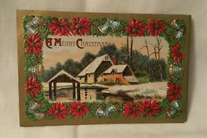 Antique-Embossed-Christmas-Postcard-A-MERRY-CHRISTMAS-poinsettia-flowers