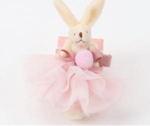 Stoff Haarspange HASE ROSA Krone Ostern Geschenk Clip Kinder Mädchen HANDMADE
