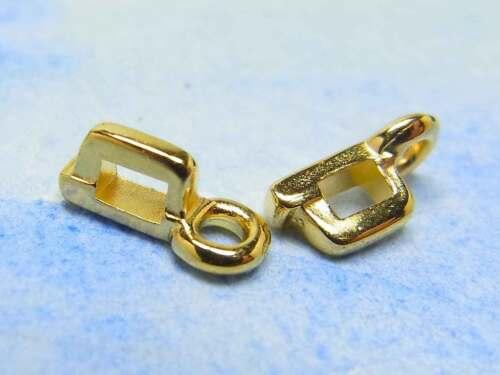 kleine Anhängerhalter 7 x 3,5 mm mit Öse vergoldet; G184 2 x Metallanhänger
