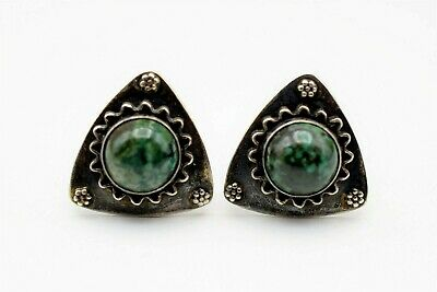 Vintage Sterling Silver Cufflinks with Green Malachite Stone 925