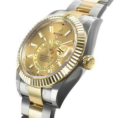 Rolex Sky Dweller 326933 Steel \u0026 Yellow Gold Champagne Index Dial 42mm  Watch