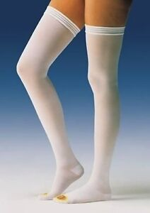 Jobst-Anti-Embolism-TED-Hose-Thigh-High-Stocking-Elastic-White-Open-Toe