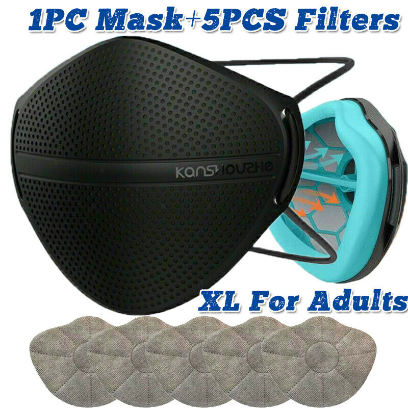 Nose Mouth Separate Reusable Face Mask Respirator W/5X Carbon Purify Filter Pad