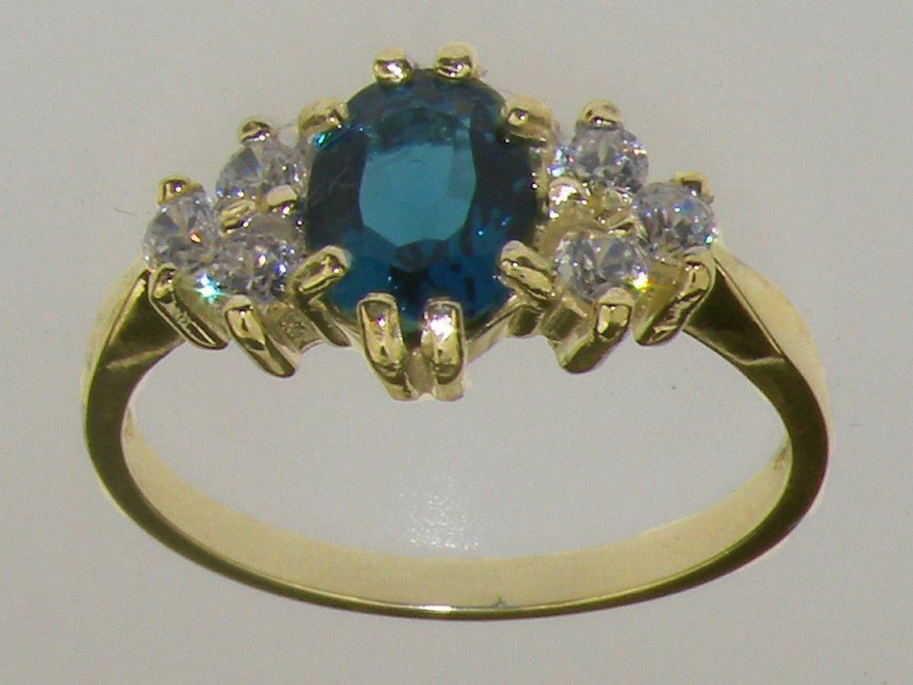 10ct Yellow gold Natural London bluee Topaz & CZ Ladies Cluster Ring