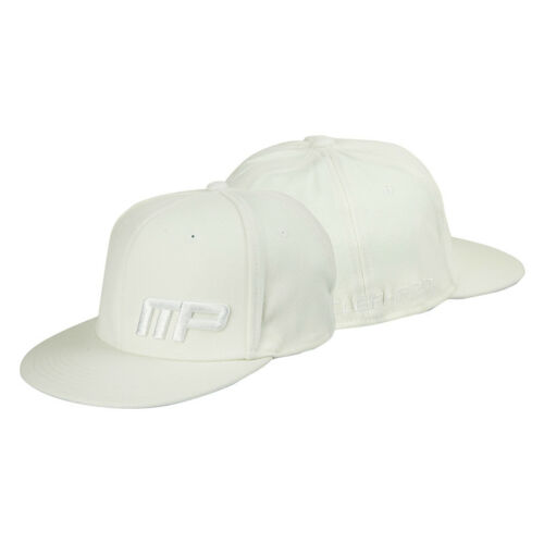 White MusclePharm Mens MP Flat Bill Fitted Hat L//XL