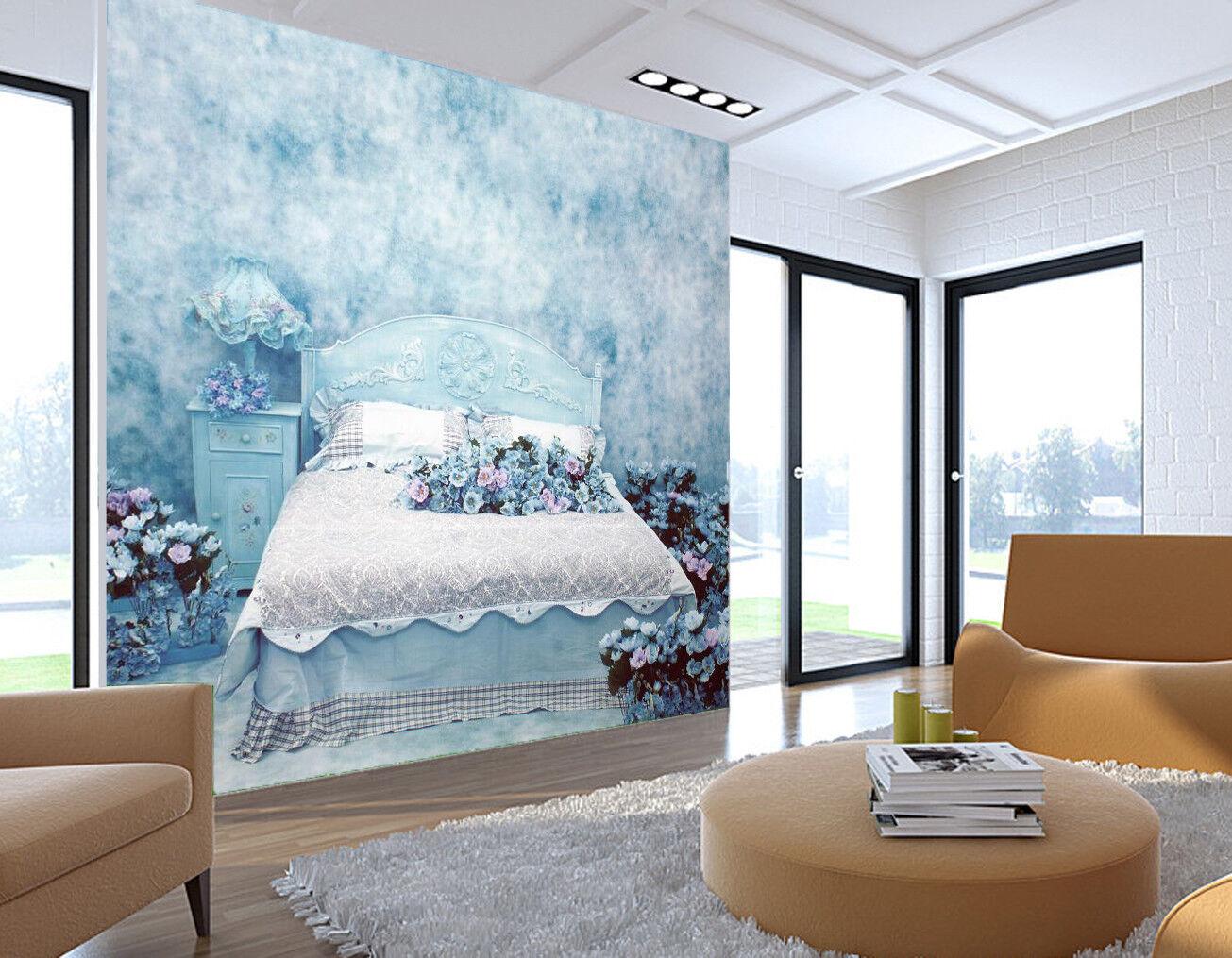 3D Ölgemälde Blaumen Beet 7983 Tapete Wandgemälde Tapeten Bild Familie DE Lemon  | Exquisite Handwerkskunst  | Verschiedene Waren  | Am praktischsten