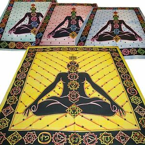 COUVRE-LIT-COUVERTURE-Chakra-meditation-coton-drap-yoga-Kundalini-brosse