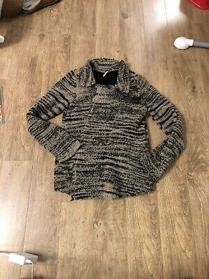 Free People Casual Black Wool Blend Fuzzy Knit Peacoat Fully Lined Winter Jacket Ebay