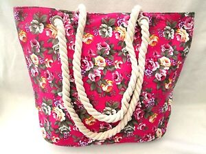 CANVAS-FLORAL-PINK-ROPE-HANDLES-BEACH-BAG-SHOPPER-STYLE-TOTE-HOLIDAYS-TRAVEL