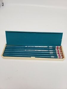Vintage-Eagle-Turquoise-1375-5H-Drafting-Drawing-Pencils-In-Case-1-dozen