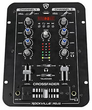 Rockville RDJ2 2 Channel DJ Mixer with USB, Cue Monitor, Talkover, 4 Line Inputs
