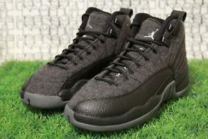 Jordan 12 Wool Grey 852626 003 School public black flu game Youth ... 5dab8f6989