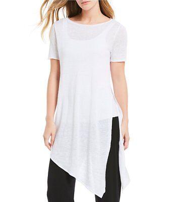PM $158 Eileen Fisher Petite White Organic Linen Asymmetric Bateau Nck Tunic PS