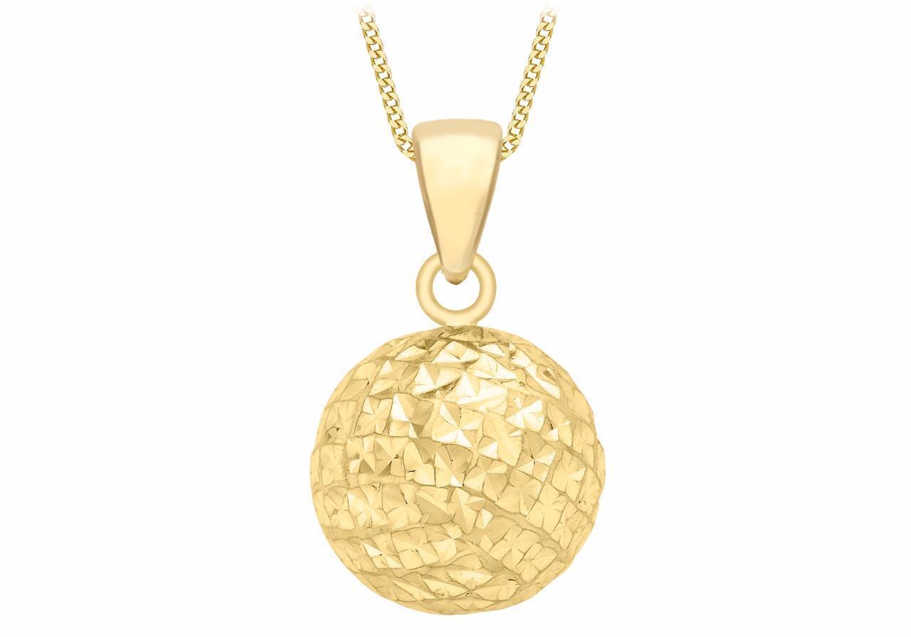 9ct Yellow gold 10mm Round Diamond-cut Sphere Ball Pendant Small Wedding Gift