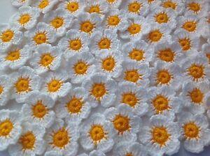 20xNew-Lovely-Crochet-Summer-Flowers-Applique-Embellishment-Daisies