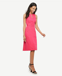 Ann-Taylor-Tall-0T-Electric-Pink-Split-Neck-Flare-Dress-179-00-H