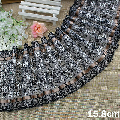 """6""""*1Y Embroidered Tulle Lace+Gold Brown Ribbon~Black+White~Wish of Daisy~Amazing"""