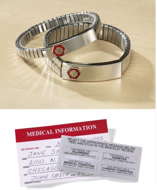 Steel Medical Alert ID Bracelet, Provides Vital Health Information In Emergency