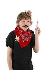 Mini Cowboy Costume Kit * Hat Sheriff Badge Mustache Bandana  Adults Kids