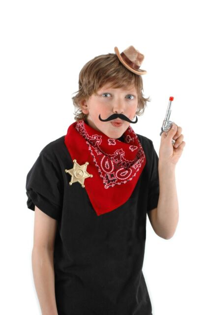 Mini Cowboy Costume Kit * Hat Sheriff Badge Mustache Bandana  Adults Kids