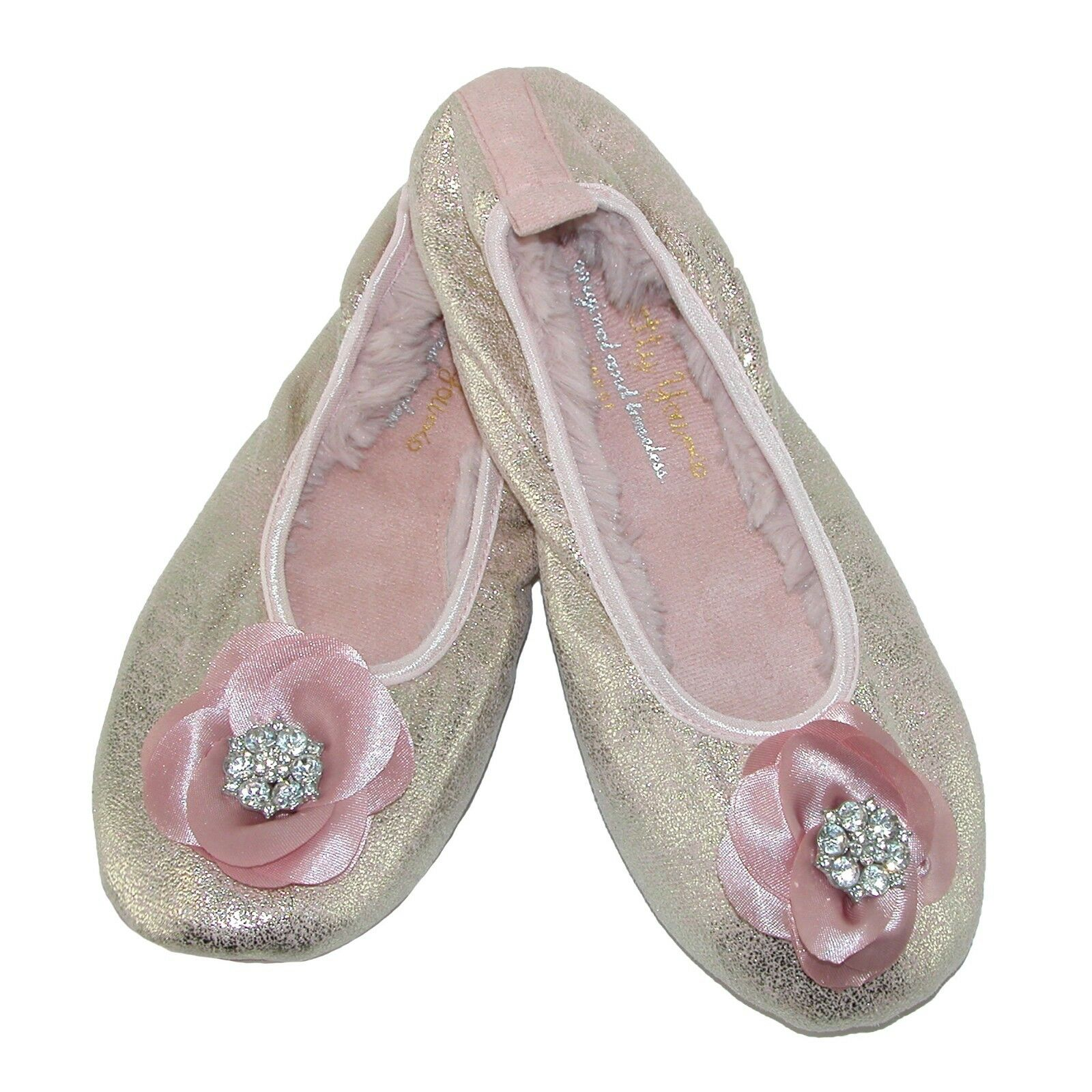 New Pretty You London Women's Pink Shimmer Ballerina Slippers Size L Large 8-9
