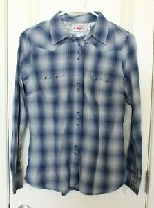 Roper-Mens-Snap-Buttons-Blue-Silver-Plaid-Western-Rodeo-Shirt-Small-EUC