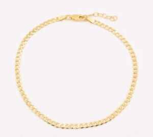 Italian-Cuban-Curb-Anklet-Ankle-Bracelet-14K-Yellow-Gold-Clad-Silver-9-034-to-10-034