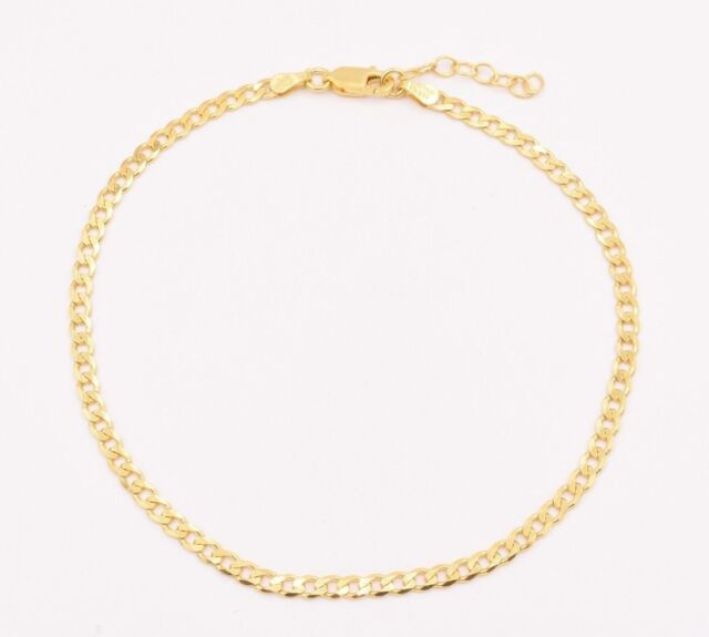 Italian Cuban Curb Anklet Ankle Bracelet 14k Yellow Gold Clad Silver 9 To