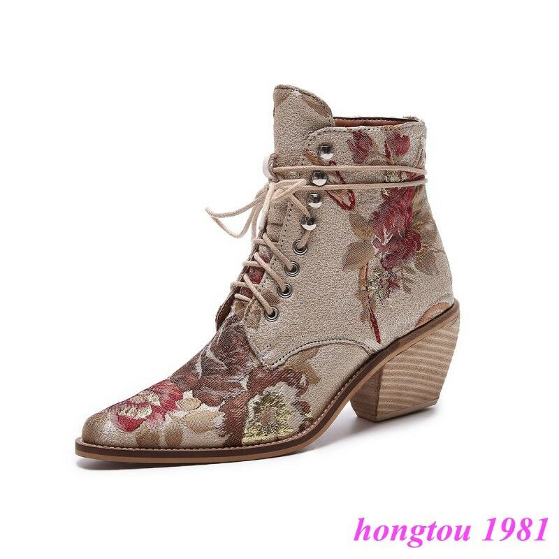 femmes Fashion Embroidery Floral Lace Up Ankle démarrageies Med Cuban Heels chaussures NEW