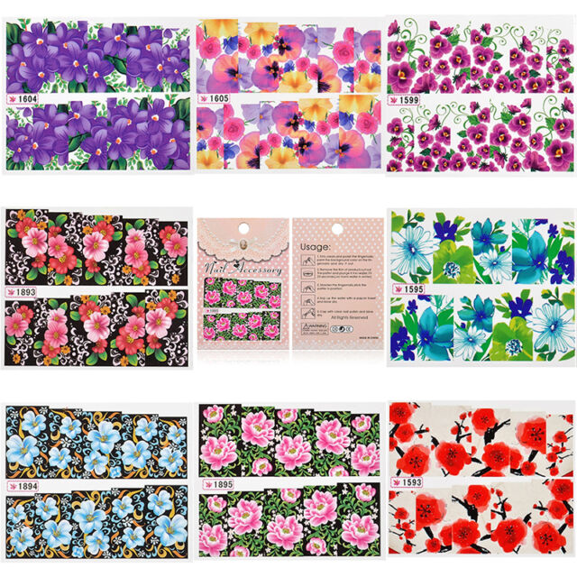 Women Flower Decal Water Transfer Manicure Nail Art Stickers DIY Tips Decoration