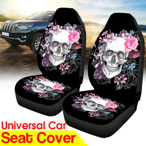 Universal-2-Front-Car-Seat-Covers-Skull-Flower-Pattern-Cushion-Truck-Van