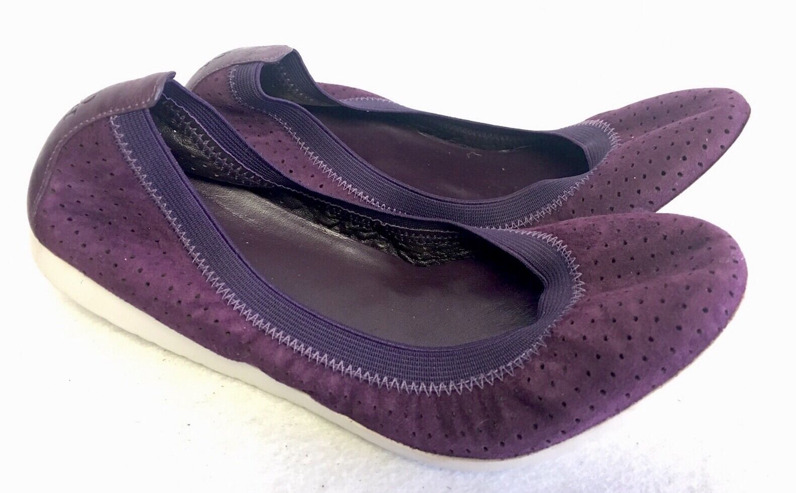Cole Haan Gilmore Wedge Nightshade Purple Perf suede Leather Ballet Flats 6 B