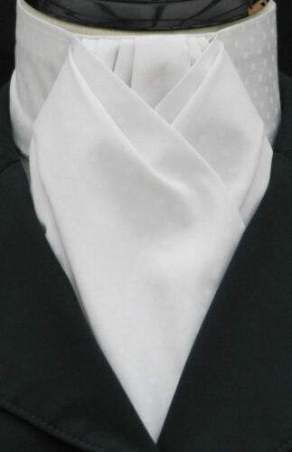 Dressage Hunting Show Ready Tied White on White Pin Dot Cotton Riding Stock