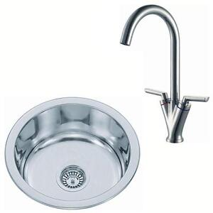 Small Round Bowl Stainless Steel Inset Kitchen Sink & Chrome Mixer ...