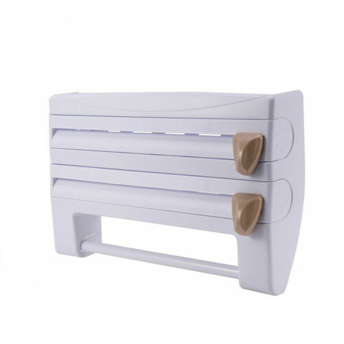 Wall Mounted Towel Holder Kitchen Roll Dispenser 4-in-1 Cling Film Foil