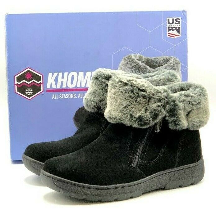 VGC Khombu Jessica Women/'s Lined Suede Boots in Black Free Shipping