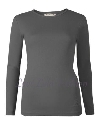 Womens Long Sleeve Tops Plain Cotton Crew Neck Basic Stretch Winter Ski Layer
