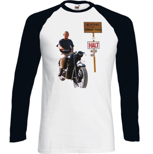 Mens Retro Old Movie T-Shirt Motorbike Bike The Great Escape Steve Mcqueen