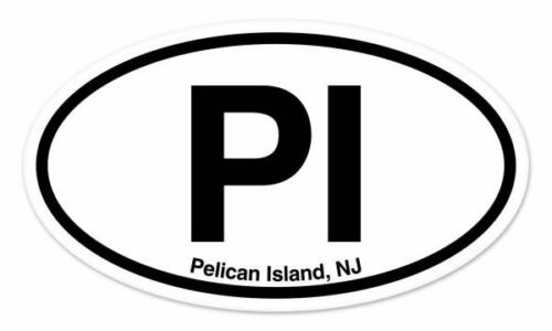"PI Pelican Island New Jersey Oval car window bumper sticker decal 5/"" x 3/"""