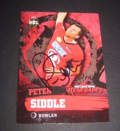 Peter Siddle Australia signed Melbourne Renegades BBL Cricket Card + COA