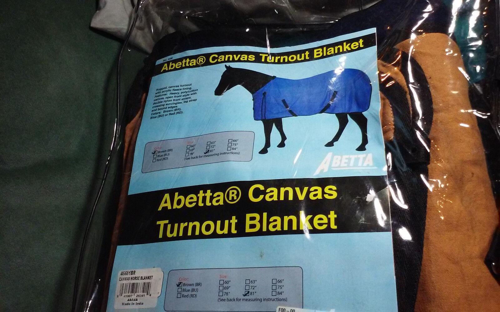 HORSE Abetta Turn Out WINTER Blanket Canvas NEW 81