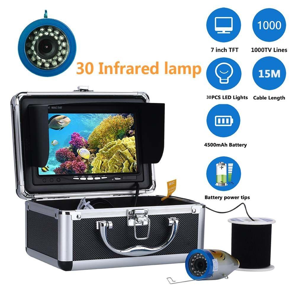 7 LCD 15M 1000tvl cámara de vídeo de pesca submarina Kit 30 piezas LED Lámpara infrarrojos