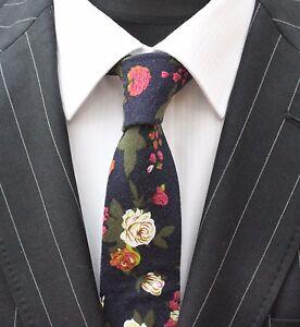 Cravate-Cou-Tie-Slim-Bleu-Marine-Avec-Motif-Floral-Qualite-Coton-T6002