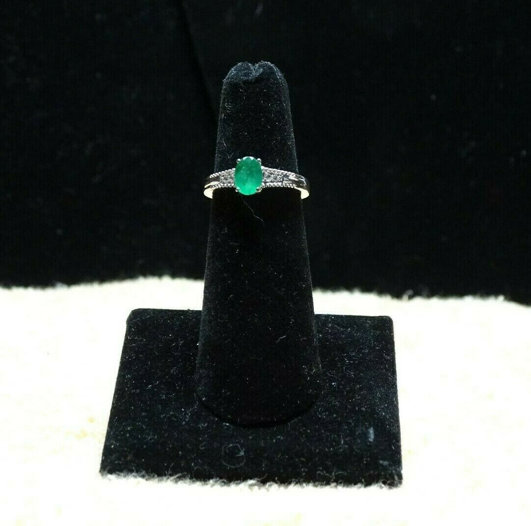 Brazilian Emerald C.Zircon Ring Platinum Over 925 SS Size 5 TGW 0.85cts.